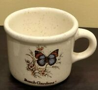 Vintage BUSCH GARDENS (Ceramic) Butterfly Floral MUG CUP Made In USA