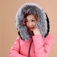 Silver Fox Fur Down Jacket Hood Trimming Scarf Natural Silver 70*15cm Collar US