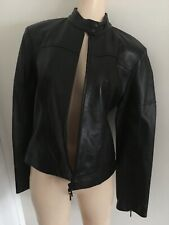 PLEIN SUD Black Leather Moto Jacket with Zipper Shelves Size 10 Made in France