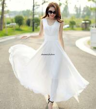 Fashion Korean New Women Boho Chiffon A Line Long Maxi Summer Beach Party Dress
