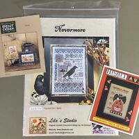 Lot of 3 Halloween Cross Stitch Charts Nevermore Lilas Studio Bent Creek Hinzeit