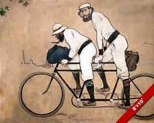 TWO MEN RIDING ON TANDEM BICYCLE FRENCH STYLE PAINTING ART REAL CANVAS PRINT