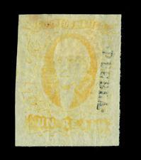 MEXICO 1865  Hidalgo 1r yellow  - PUEBLA - dist. ovpt  Scott # 2  mint MH