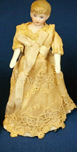 "Antique German Bisque Miniature Dollhouse Doll  6""  Lacy Dress, Hair Bun in Back"