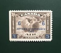 """Stamps Canada C4 6c on 5c olive brown MNH Air Mail stamp of 1932 """"Ottawa Conf."""""""