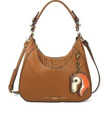 CHALA BROWN SWEET TOTE HOBO HANDBAG PURSE FAUX LEATHER W HORSE KEYCHAIN NEW