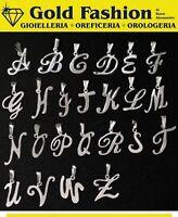 Lettera tuo nome - argento tit. 925 - rodiato - con collana - lettere liscie