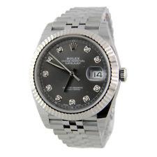 Rolex Datejust II 126334 Jubilee Steel & 18k 41mm Rhodium Grey Diamond Flutted