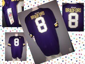 #8 Sam BRADFORD adult 2XL NFL Team Apparel Minnesota Vikings Purple Jersey NWT