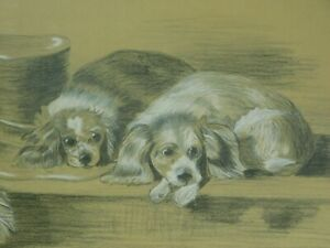Antique Pastel Chalk Drawing Painting 2 King Charles Cavalier Spaniels Fancy Hat