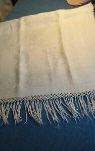 Antique  Bath  hand Towel Linen Damask Hand Knotted  Fringe 44x22 morning glory