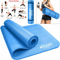 Yoga Mat for Pilates Gym Exercise Carry Strap Large 10mm Thick Comfortable NBR