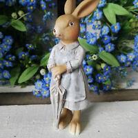 Clayre&Eef Osterhase Pastell 12cm Figur Osterdekoration Ostern Schirm Hasenfrau