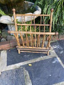Vtg Antique Burnt Victorian Bamboo Rattan Hanging Wall Magazine Rack