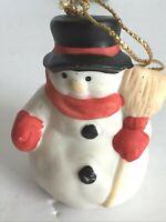 "Vtg Midwest Christmas Ceramic Snowman Black Top Hat Holding Broom Ornament 3""T"