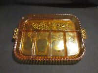Vintage Indiana Amber Depression Glass Divided Dish Fruit Pattern Vintage Tray