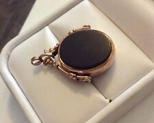 Antique 1897 Victorian 9CT Gold Bloodstone & Carnelian Spinner Fob Pendant