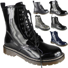 Ladies Chunky Ankle Boots Lace Up Goth Punk Boots Shiny Boots