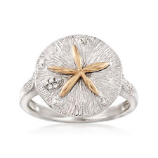 Sterling Silver and 14kt Yellow Gold Sand Dollar Ring with .10 ct. t.w. Diamonds
