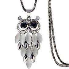 Women Cat Eye Opal Owl Crystal Rhinestone Pendant Necklace Long Sweater Chain