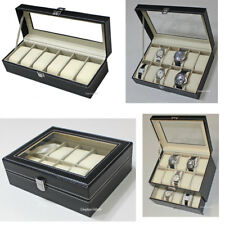 6, 10 12 20 Slots Leather Watch Box Display Glass Top Jewelry Case Organizer