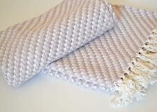 Beige Cream Squares Throw Woven Knitted Geometric Blanket 160x130cm Soft Cotton