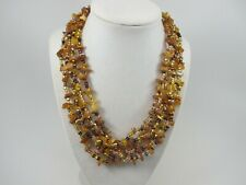 Natural Amber brown statement necklace, brown amber beaded necklace, multistrand