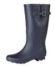 Ladies Navy Blue Wide Calf Wellington Boots Rainy Snow Waterproof Wellies 3-9