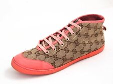 GUCCI High Top Sneakers Pink Leather Brown GG Canvas Womens Size EU 37 US 7 $620