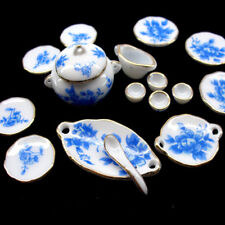 Dollhouse Tableware Miniature Ceramic Pots Porcelain Plates Kitchen Accessories