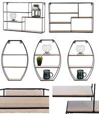 Retro Wall Shelves Storage Unit Wood Industrial Style Metal Wire Rack Display