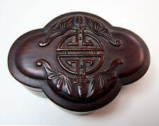 Antique carved small Chinese hardwood bat motif box