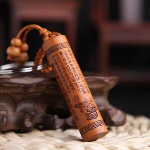 1pc Wood Carving Buddha Pendant Keychain Lucky Jewelry Buckle Uni PO