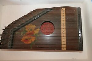 Antique Guitar Zither ROLZ German 15 string Hand Painted RARE circa 1890