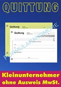 QUITTUNGSBLOCK f. Kleinunternehmer, DIN A6 selbstdurchschr, 2x50 BLATT, RECHNUNG