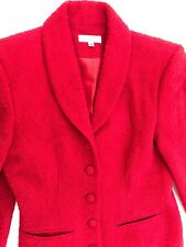 BROOKS BROTHERS Womens Red Fuzzy Blazer Wool 5 Buttons Sz 4 EXCELLENT CONDITION
