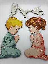 "Nursery Children Wall Art Boy Girl Praying 12"" Dolly Toy Vintage 1958"