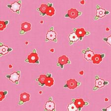 Lakehouse Pam Kitty Red & White Tiny Floral Flowers on Pink Cotton Fabric - FQ