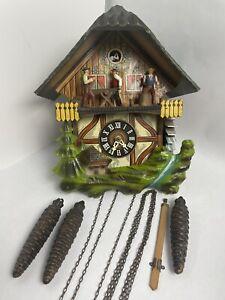 1972 West Germany Cuckoo Clock Black Forest Musical Sawmill Water Wheel Scene