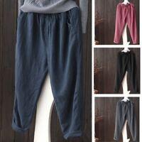 Fashion Women Cotton Linen Harem Pants Casual Baggy Pocket Casual Pants Trousers