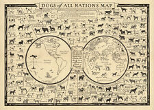"Vintage Illustrated World Map with Dog breeds of Nations CANVAS PRINT  24""X18"""