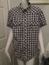 H&M - BLUE CHECKED, SHORT SLEEVED FITTED SHIRT Size M, 100% COTTON