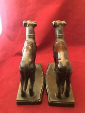 Vintage or Antique White Metal Whippet Dog Bookends