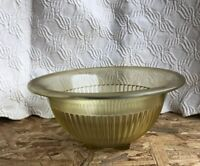 "Vintage Federal Depression Glass Mixing Bowl Ribbed Amber / Yellow 9.5"" x 4.25"""