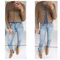 British Fashion Brand whistles Cropped Camel Wool Jacket Sz S