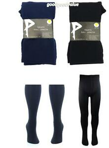 Girls Age 12+ Thick Winter School Tights Full Length Black Navy Stocking