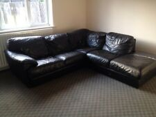 Corner Sofa Real Leather Settee Black Large Leeds delivery possible