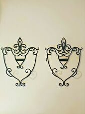 """Set of 2 Black Wrought Iron Wall Mounted Plate Display Rack Holders 16 1/2"""" H."""
