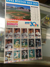 1992  Boston Red Sox  Baseball Dunkin Donuts Wvit 30  Team Set