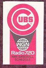 1981 CHICAGO CUBS WGN BASEBALL POCKET SCHEDULE
